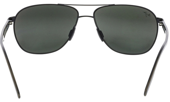 dffee786abe7 Maui Jim Men's Polarized Castles 728-2M Black Aviator Sunglasses ...