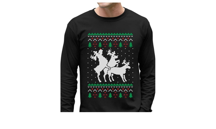 9c609cae4 Funny Ugly Christmas Sweater Party Humping Reindeer T-Shirt Black ...