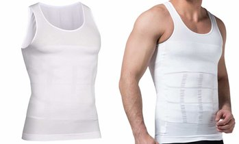 Mens Body Shaper Slimming Shirt Tummy Waist Vest Slim Compression Tank White