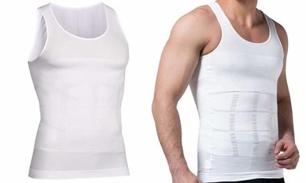 Mens Body Shaper Slimming Shirt Tummy Waist Vest Slim Compression Tank White