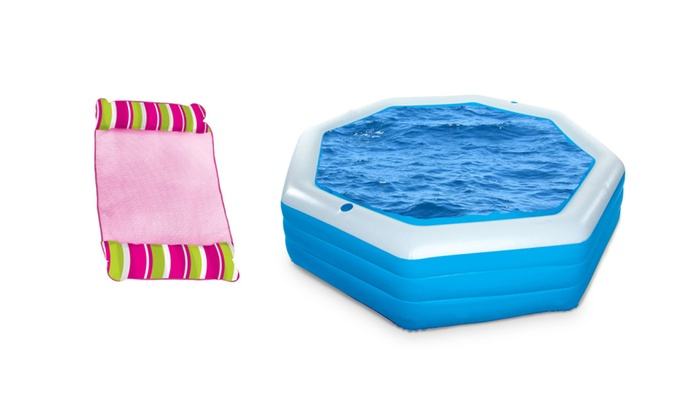 Float Water Lounge Chair With 8 Sided Inflatable Swimming Pool ...