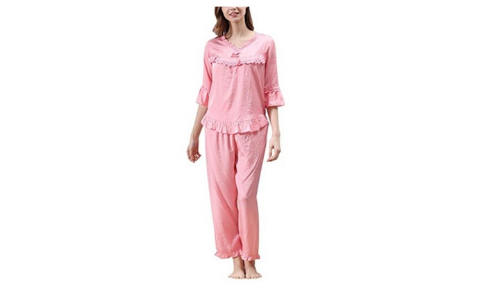Women's V Neck Cute Flowers Decoration Pajamas Nightshirt Pants Set