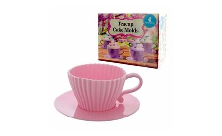 4-Pack: Tea Time Reusable Teacup & Saucer Cupcake Molds 31eda569-13a4-4664-a975-702e9cd165b2