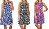 Beach Dresses for Women Damask T-shirt Boho Sleeveless Swing Loose General Dress