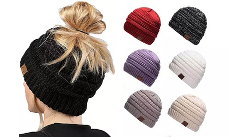 Women's Ponytail Messy Bun Beanie Cap Tail Beanie Solid Ribbed Hat