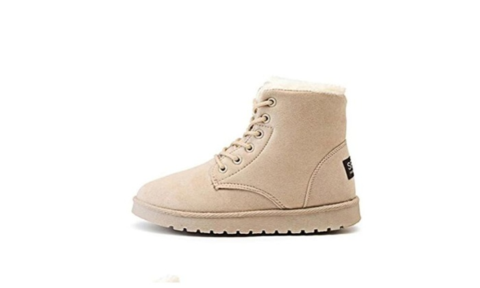 Women's Warm Short Fur Lined Lace up Non Slip Casual Ankle Boots