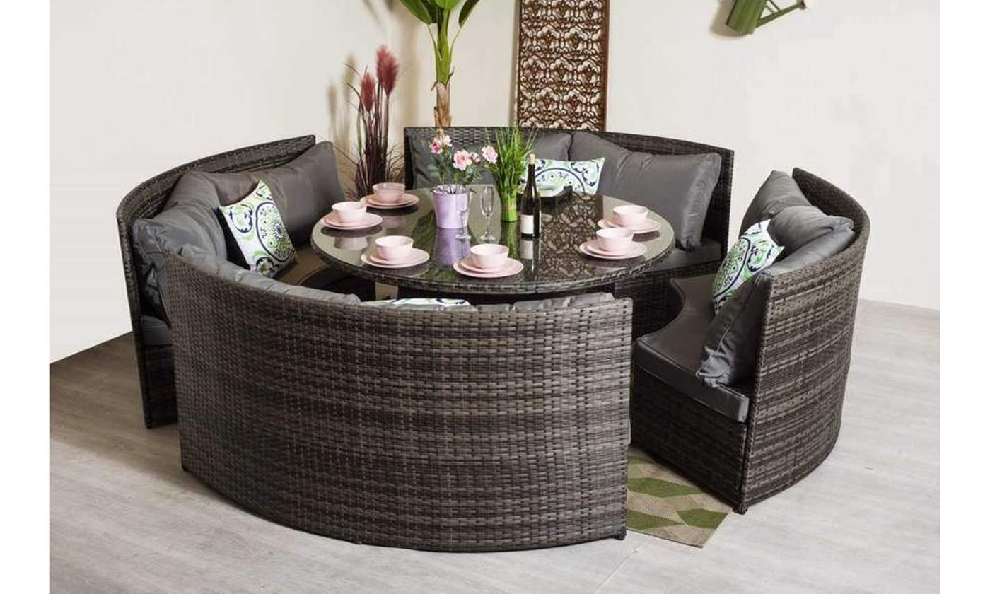 Yaoke Eight-Seater Rattan-Effect Round Dining Set for £719.99