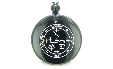 Sigil of the Archangel Samael Magical Amulet Magic Gemstone Spiritual Powers Pendant Necklace