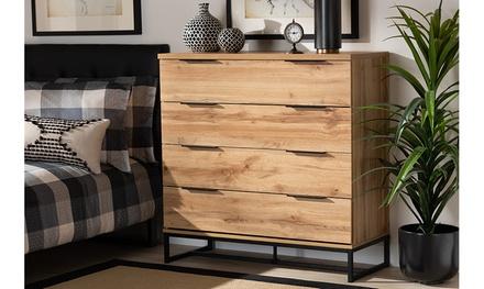 Reid Industrial Oak Finished Wood and Black Metal 4-Drawer Dresser