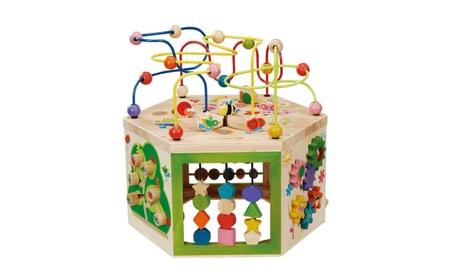 EverEarth Garden Activity Cube. Wood Shape & Color Sorter, Bead Maze e613c52b-2044-4683-a3f5-9ca0813d380e