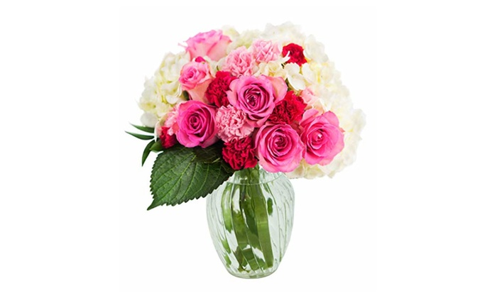 Let Them Eat Cake Roses And Hydrangeas Bouquet With Vase Groupon