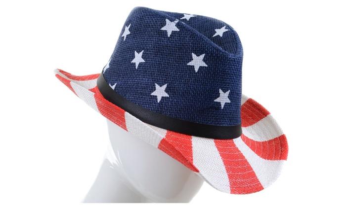 Stars & Stripes USA Flag Buckle Drifter Cowboy Hat