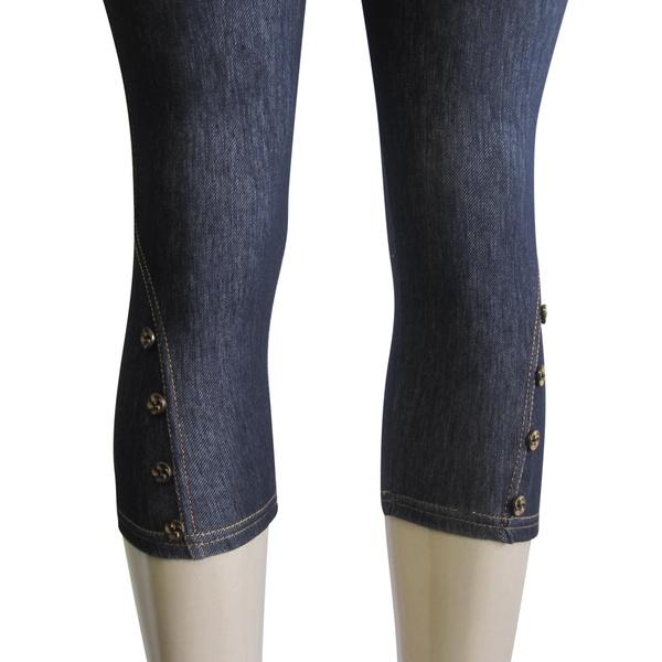 FAB-11251 Petite Women Button Design Denim Look Capri Leggings