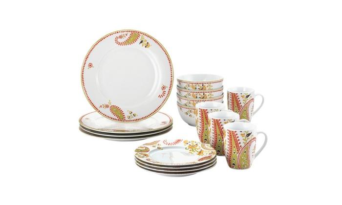 Rachael Ray Dinnerware Paisley 16pc Porcelain Dinnerware Set ...  sc 1 st  Groupon & Rachael Ray Dinnerware Paisley 16pc Porcelain Dinnerware Set | Groupon