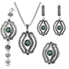 Vintage Gray Crystal Necklace Earrings Bracelet Rings Sets for Women