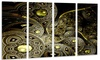Symmetrical Gold Fractal Flower Floral Metal Wall Art 48x28 4 Panels