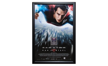 Superman Man of Steel - Signed by Cast Movie Poster in Wood Framed bb870583-9632-4e8a-a1cb-61345eb28b07