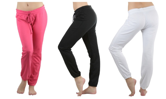 Women's Drawstring Waistband Long Cotton Sweatpants