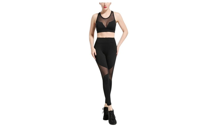 SSNB Women's Mesh Crop Top & Stretch Leggings Sports Gym Outfit Yoga S