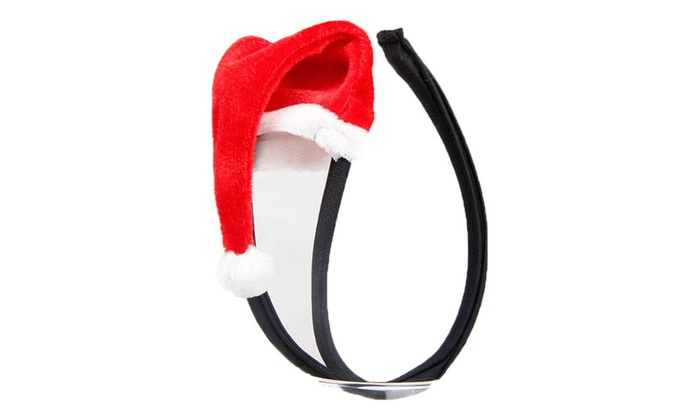 Men's Hollow Out Underwear Christmas Hat Shape C String For Love Red