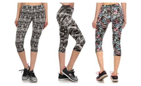 Junior's Teenager Activewear Printed Capri Leggings Yoga Pants 124c7fd5-4bf1-48f2-900f-075a4248d0e5