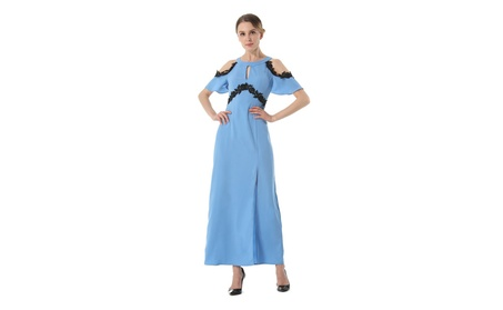Women's Ribbed Cold Shoulder Prom Dress cb3c5ea6-4946-4c44-aecc-b243139c70c3