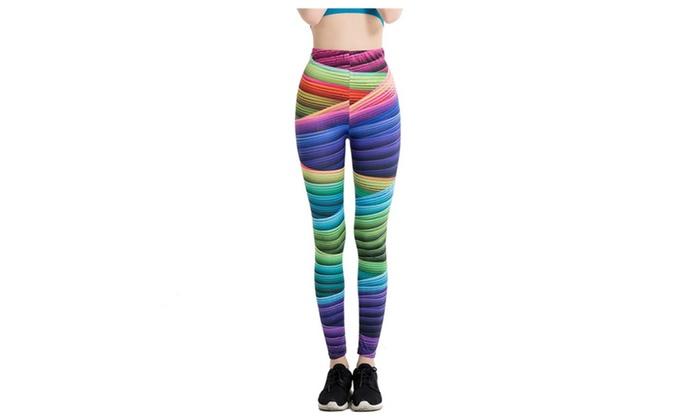 653d13a9b0c438 Women's Rainbow Stripes Print Yoga Pants Running Gym Sports pant ...