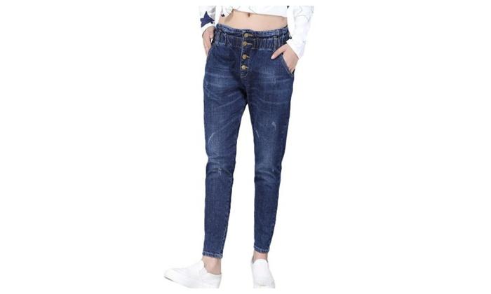 Women's Skinny Solid Long Simple Slim Fit Jeans