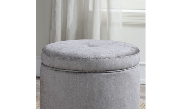 small round storage ottoman gray groupon. Black Bedroom Furniture Sets. Home Design Ideas