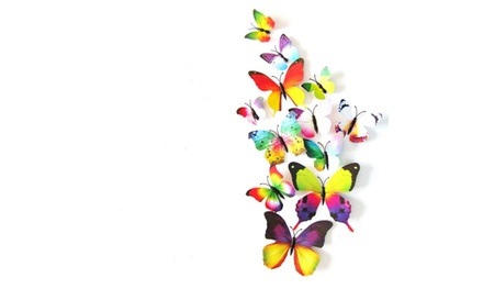 12Pcs 3D Butterfly Art Decal Home Decor PVC Butterflies Wall Sticker