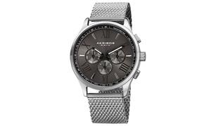Akribos XXIV Men's Dual Time Stainless Steel Bracelet Watch AKGP844