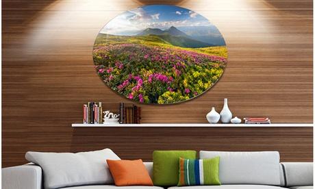 Summer Day Rhododendron Flowers' Landscape Metal Circle Wall Art 1edb579b-0981-4433-a43b-793e53e56d33