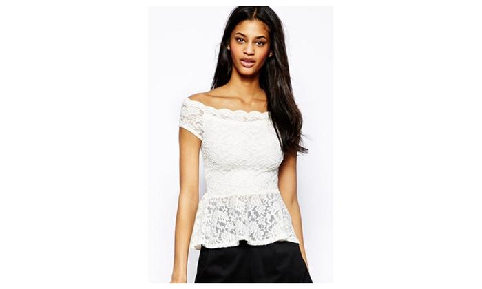 Women's White off-shoulder Lace Peplum Top