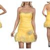 Bodycon Tutu Short Yellow Evening Dress