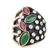 Retro diamond-studded enamel ring