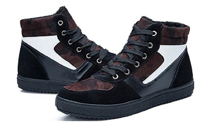 Hanxue Mens Fur Lined Lace-Up Snow Boots High-top Sneaker