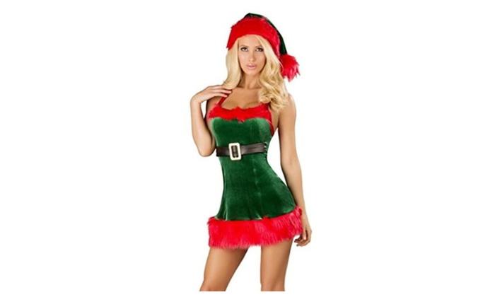 iRachel Womens Elf Adult Xmas Candy Cane Santa Costume Christmas Role play Dress – White / Free size
