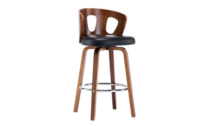 Brilliant Wooden Black Faux Leather Mid Century Modern Swivel Barstool Frankydiablos Diy Chair Ideas Frankydiabloscom
