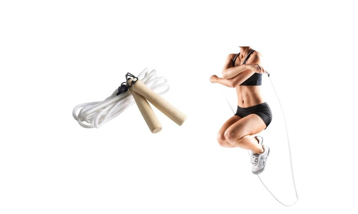 Sporting Goods Lightweight 9'Nylon Jump Rope With Natural Wood Handles