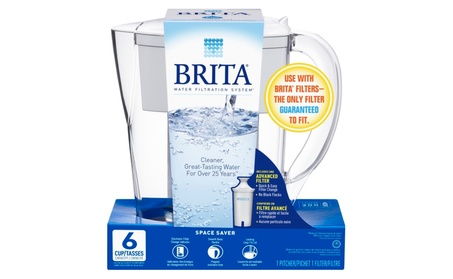 Brita Small Space Saver Water Pitcher with Filter - BPA Free - 6 Cup photo