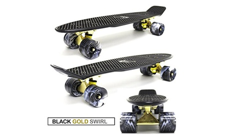 "22"" Mini Retro Plastic Cruiser Skateboard - Black Gold Swirl 96cd4f80-9faa-4ae3-96cf-260f474da894"