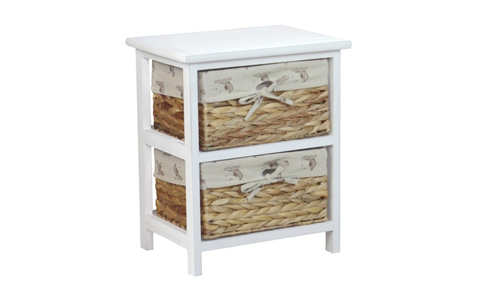Nightstand Cabinet Chest with 2 Basket Drawer