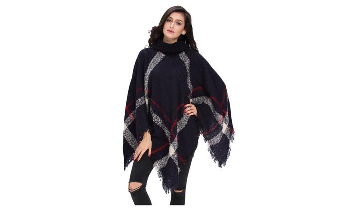 Navy Turtleneck Tassel Cape Sweater For Women – one size