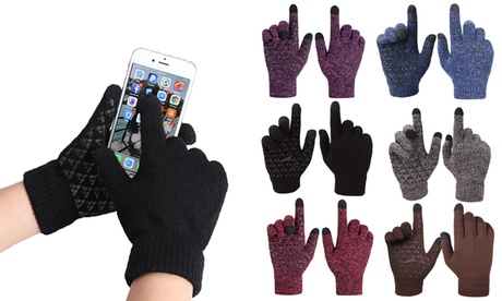 Unisex Winter Knit Gloves Touchscreen Warm Thermal Lining Elastic Cuff Glove