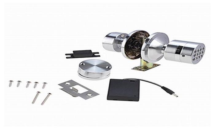 keyless electronic digital programable security keypad code door lock groupon. Black Bedroom Furniture Sets. Home Design Ideas