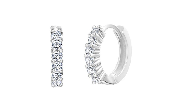 019098d0bd598 18K White Gold Plated Swarovski Elements Mini Clip On Hoop Earrings ...