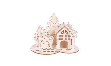 Christmas Wooden Three-dimensional Puzzle Snowman House Desktop Decoration