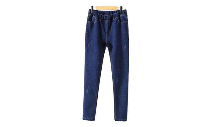 Women's Long Simple Regular Fit Straight Leg Casual Jeans
