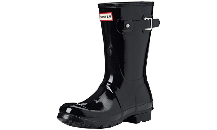 0bfd80e2500 Hunter Womens Original Short Gloss Rain Boots - Black - Size 9