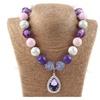 Sophia Purple Teardrop Amule Beaded Pendant Necklace for Women